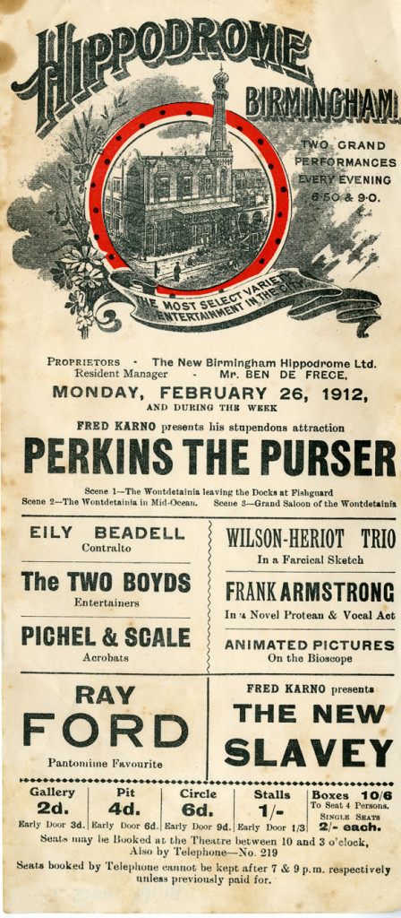 Flyer for the week of of Monday 26 February 1912