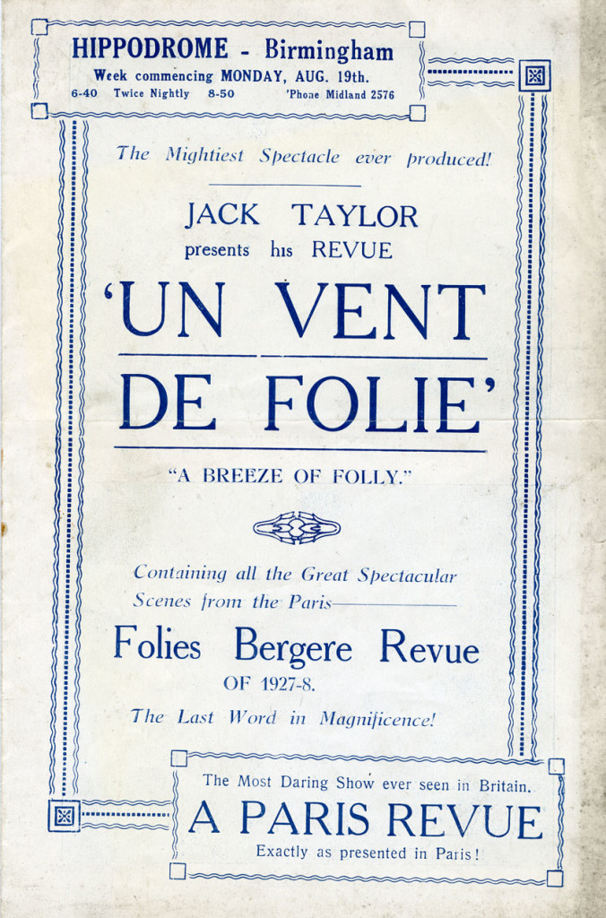 Programme for ?Un Vent De Folie? August 1927