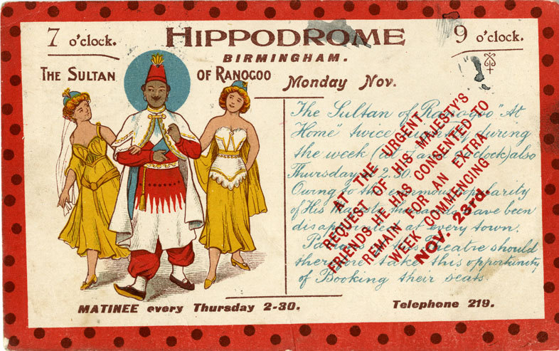Postcard for ?The Sultan of Ranogoo? November 1903