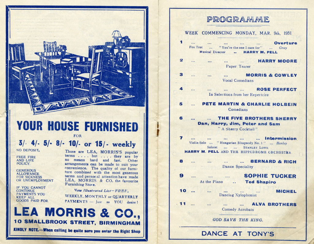 Programme for the week of Monday 09 March 1934