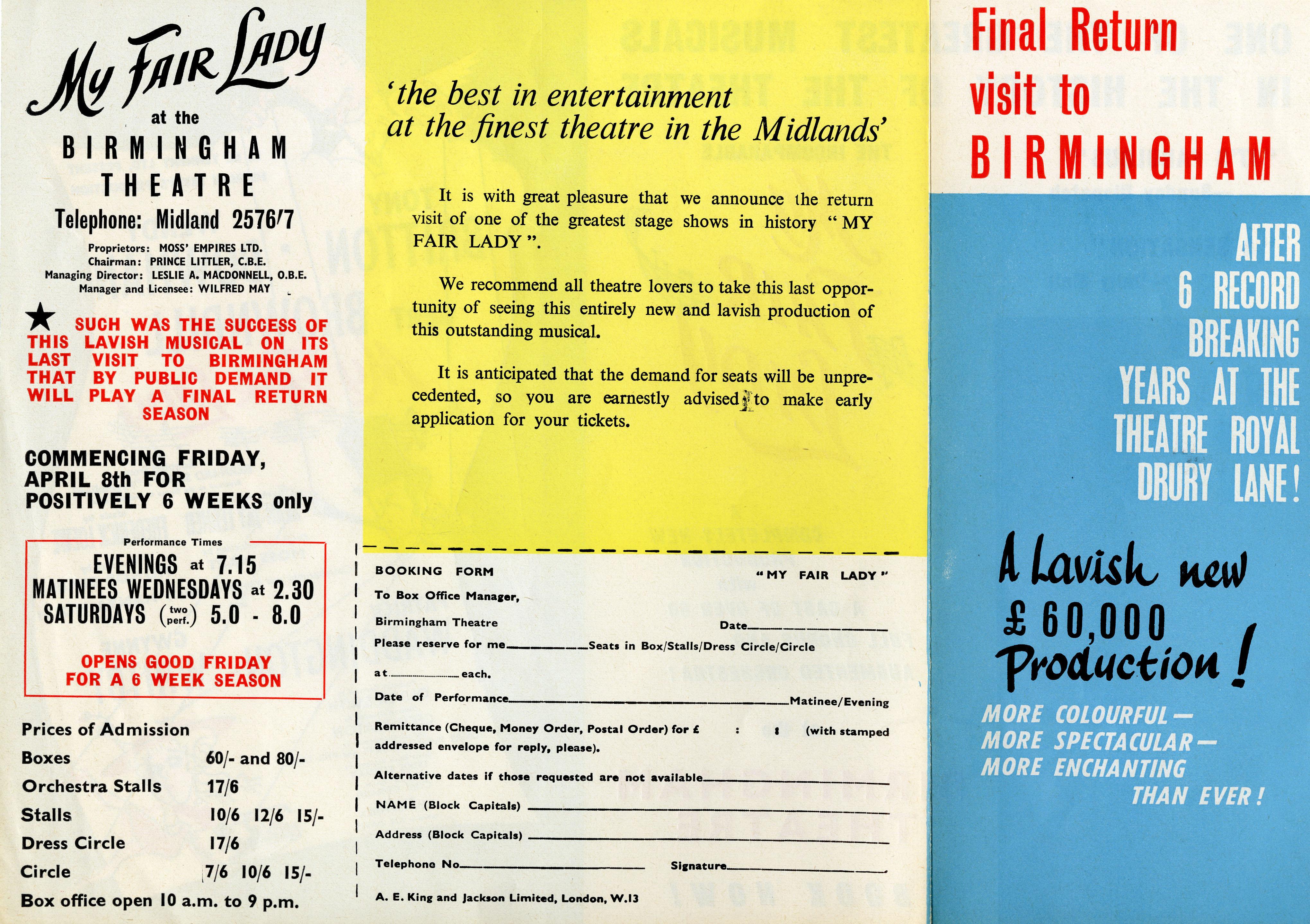 Flyer for My Fair Lady, August 1964