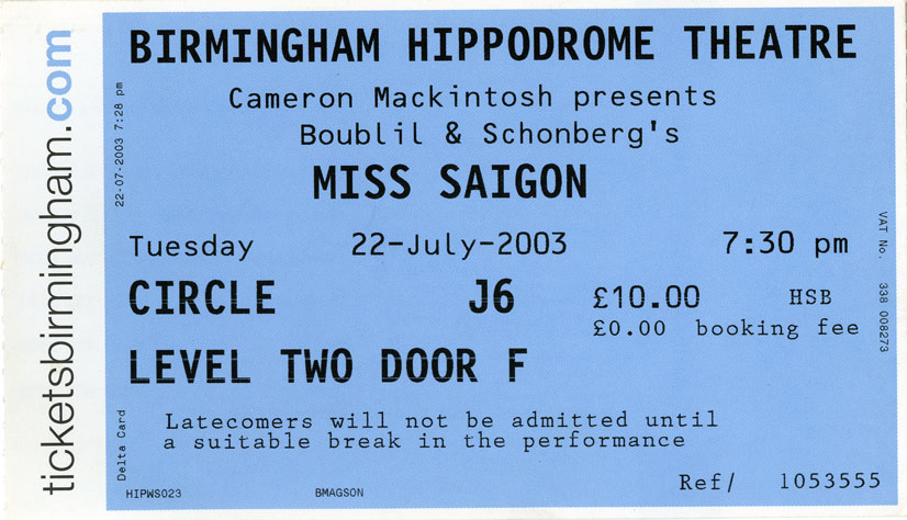 Ticket for Miss Saigon, 22 July 2003