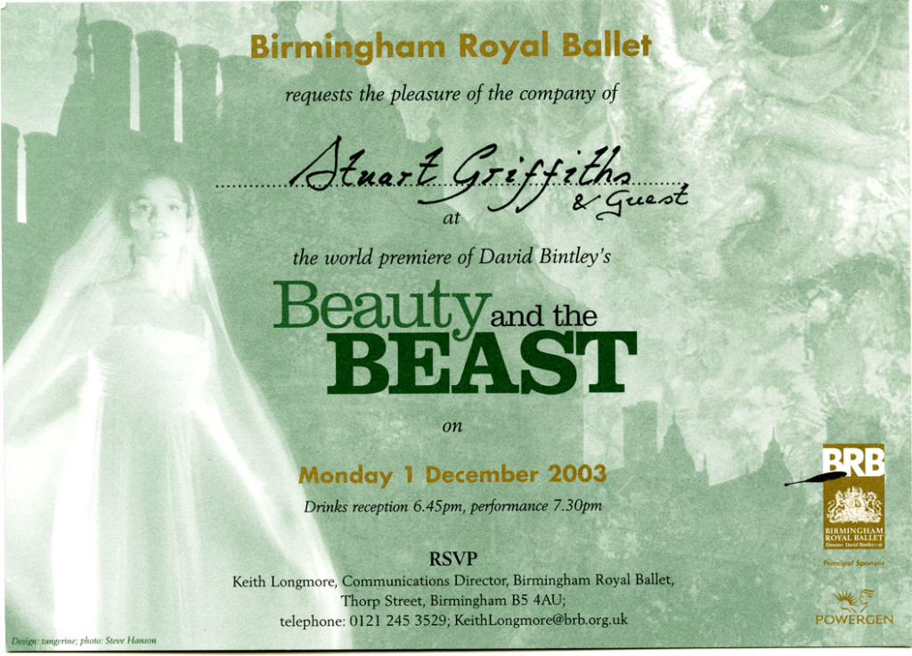 Invitation to Birmingham Royal Ballet?s production of ?Beauty and the Beast? 01 December 2003