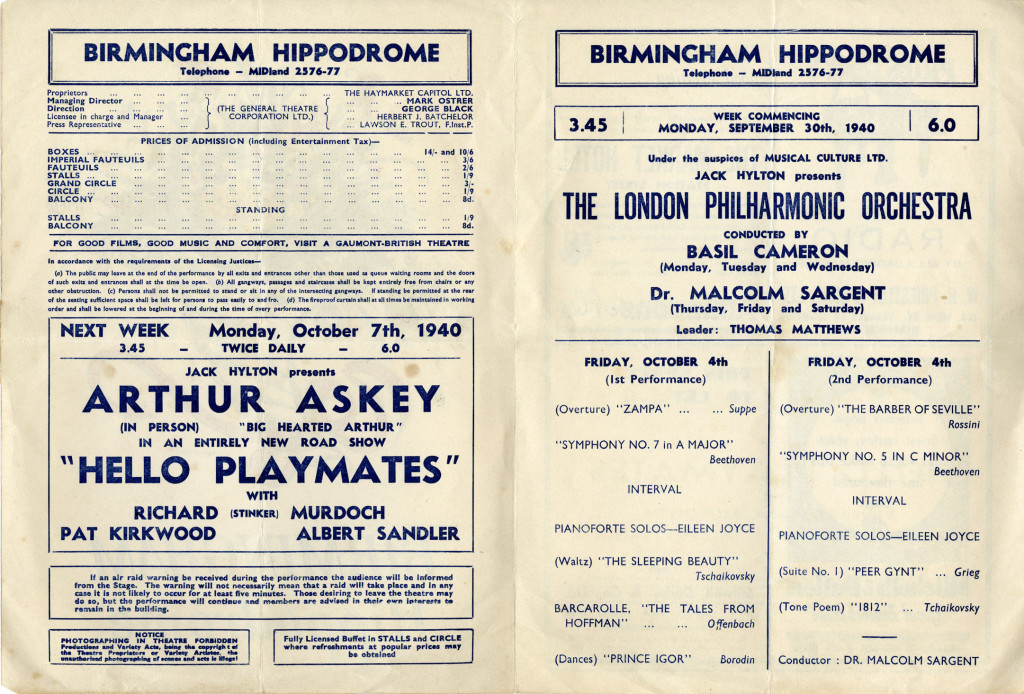 Programme for the week of Monday 30 September 1940
