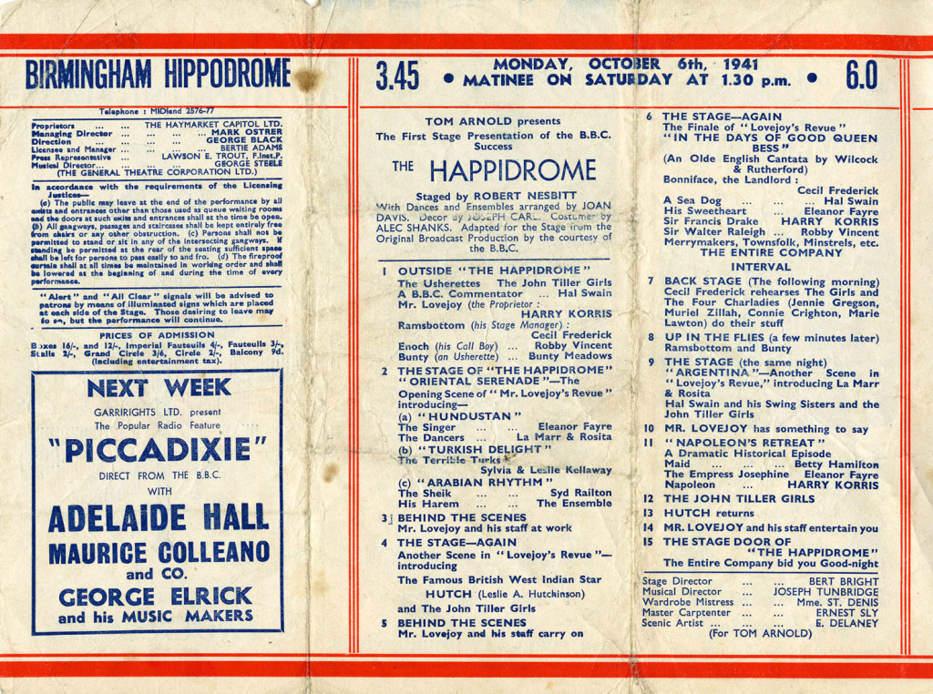 Programme for the week of Monday 06 October 1941