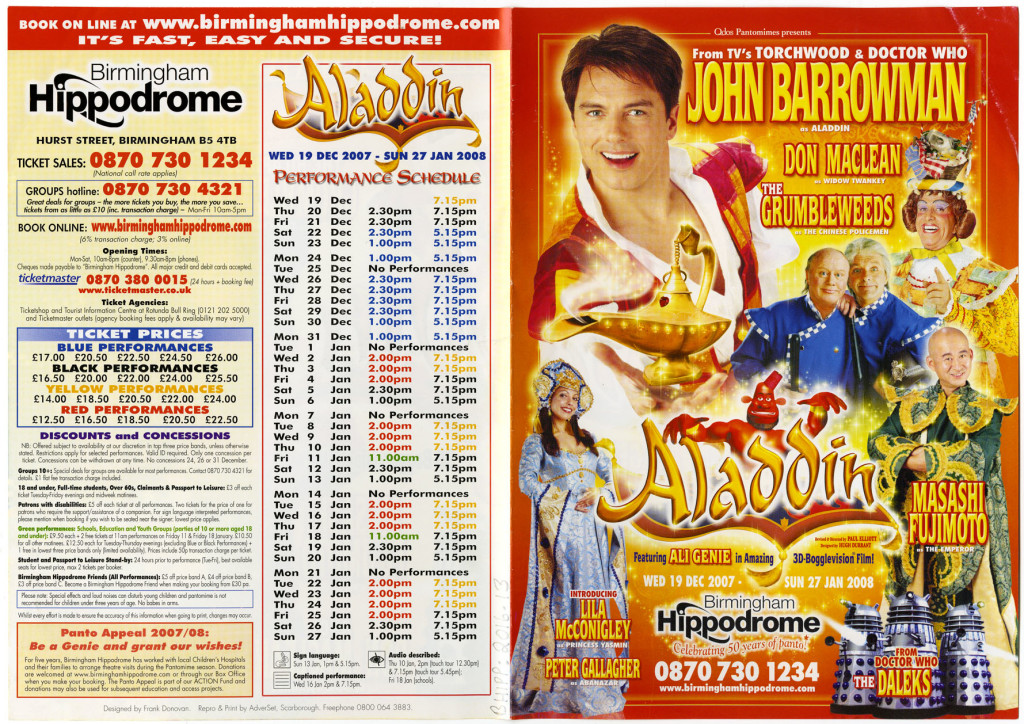 Flyer of the pantomime Aladdin, December 2007