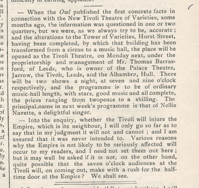 Tivoli Birmingham Al: Newspaper Article From The Birmingham Owl 17 August 1900