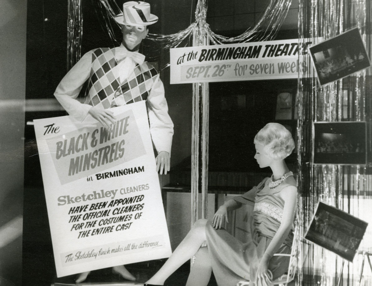 Photograph two mannequins dressed in costumes for the black and white minstrel show birmingham hippodrome →