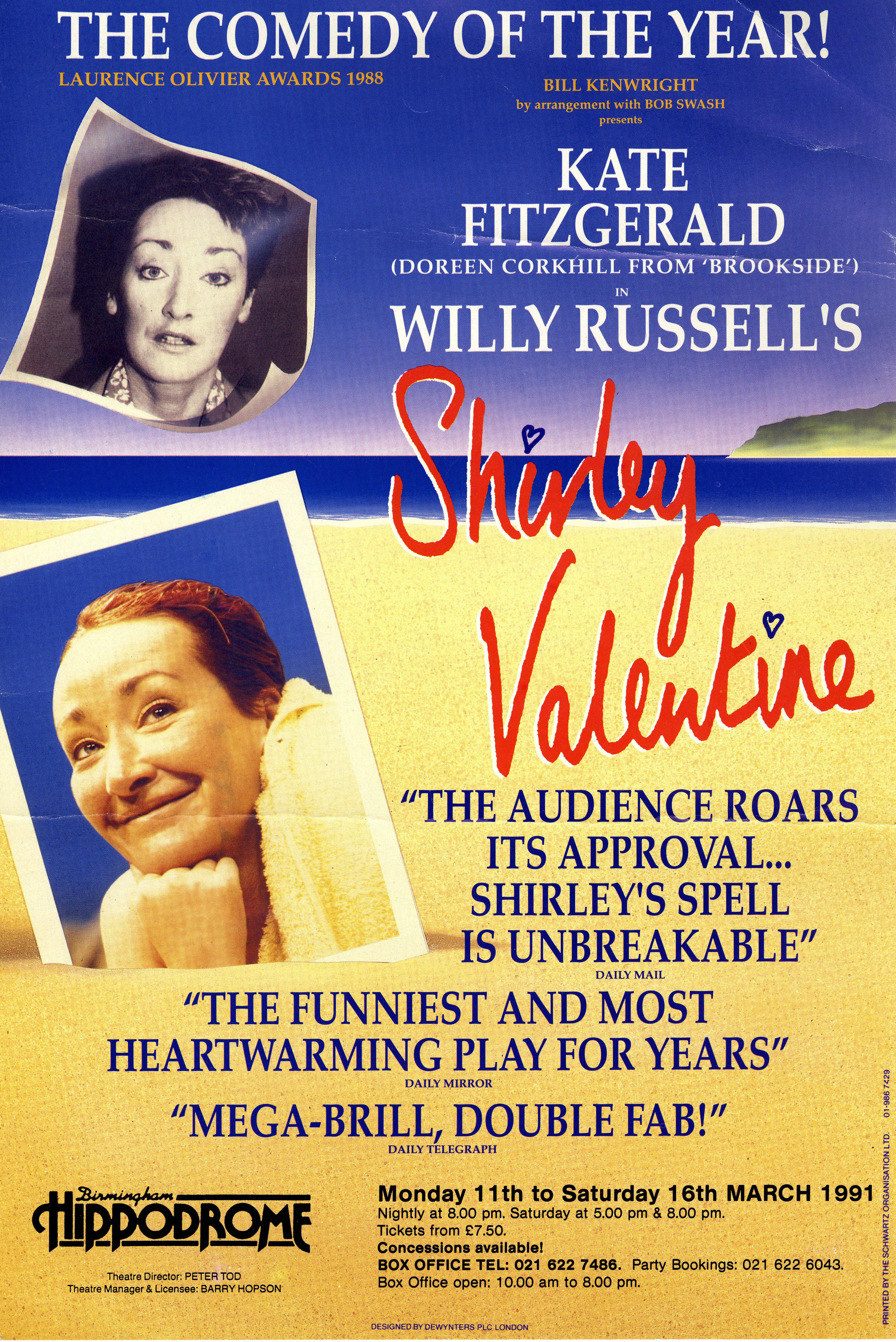 Poster, Bill Kenwright Presents U0027Shirley Valentineu0027, Birmingham Hippodrome →
